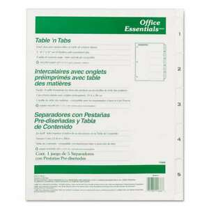 Office Essentials Table n Tabs Dividers 5 tab Letter 072782116668