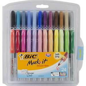 Bic Mark it Fine Point Permanent Markers 24 pkg Assorted Colors 070330332263