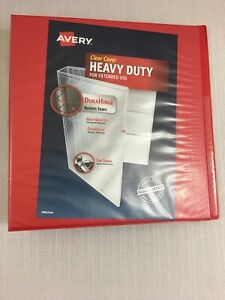 New Avery Red 1 1 2 3 ring Binder Heavy Duty Clear Cover