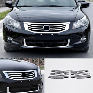 For Honda Accord 2008 2010 Bright Chrome Front Grille Grill Strips Cover Trim