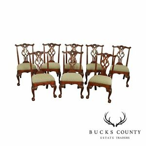Henredon Rittenhouse Square Collection Mahogany Chippendale Set 8 Dining Chairs