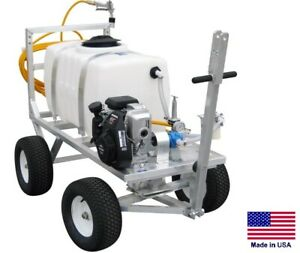 Sprayer Commercial Trailer Mounted 7 Gpm 150 Psi 50 Gallon Tank 5 Hp