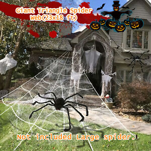 23x18ft Giant Spider Web Stretch Cobweb Halloween Outdoor Party Decor 2 Spiders