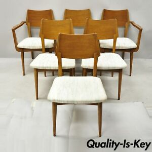 Vintage Mid 20th Century Modern Sculptural Walnut Dining Chairs Set Of 6