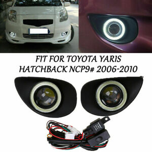 2x Led Daytime Running Fog Light Angel Eyes Drl For Toyota Yaris Hatchback 06 10