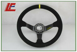 14inch 350mm Suede Leather For Sp Deep Corn Drifting Steering Wheel Black New