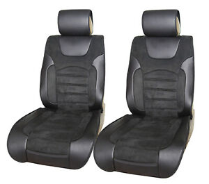 2 Front Black Pu Leather Car Seat Covers For Silverado 1500 2500 2008 2021 8025