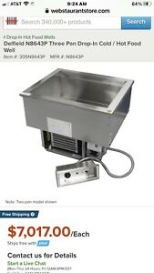 New Delfield N8643p Drop in Hot Or Cold Food Well W 3 Full Size Pan Capacity