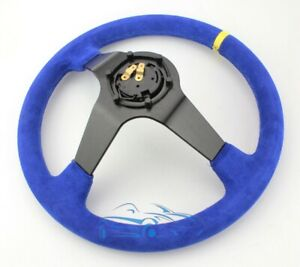 Suede Genuine Leather Motorsports Racing Steering Wheel 350mm 100mm Blue Sp