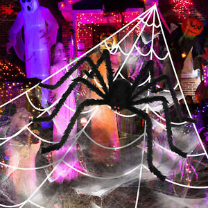 Halloween Props 23x18ft Giant Spider Web 29.5in Large Spider Outdoor Yard Decor