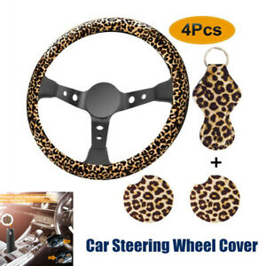 4pcs Leopard Print Car Steering Wheel Cover Keychain Coaster Cover Accessories