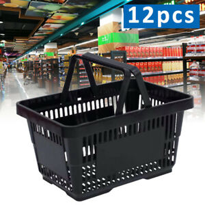 12qty Black Plastic Shopping Basket Market Grocery Retail Store Supplies Sale