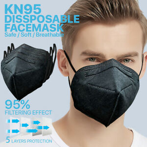 black 100 Pc Kn95 Protective Face Mask 5 layer 95 Pm2 5 Disposable Respirator