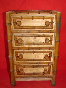 Antique Small Chest Of Drawers Of Doll Style Bamboo Toy