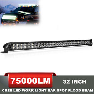 Dual Rows 32inch Cree Led Light Bar Spot Flood Offroad 4wd Fog Reverse Slim 30