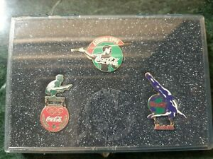 Coca-cola Pin Set of 3 #1115 Sports series Olympic Pins in Protective case 1996