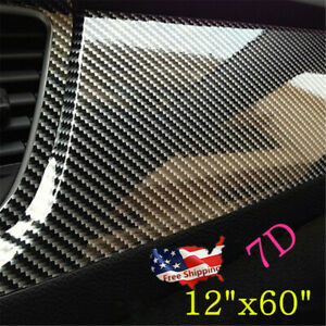 Parts Accessories 7d Glossy Carbon Fiber Vinyl Car Wrap Film Sticker Bubble Free