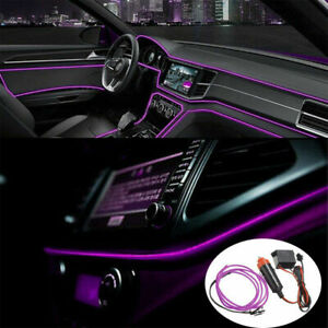 2m Purple Car Led El Wire Light Strip Interior Atmosphere Glow Neon Lamp Decor