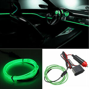 2m Green Car Led El Wire Light Strip Interior Atmosphere Glow Neon Lamp Decor