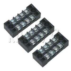 10pcs 15a 600v Barrier Dual Row 4 Position Screw Terminal Block Strip