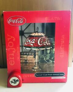 Vintage Coca Cola lamp stained glass style Tiffany style Good Condition Japan