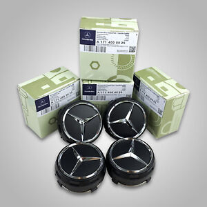 4x Fits Mercedes Benz Wheel Raised Center Caps Mattle Black Hubcaps 75mm