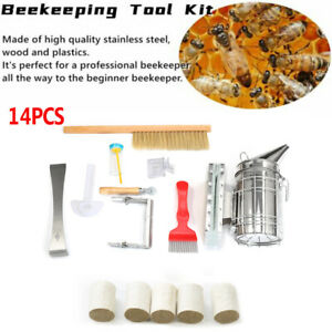 14 Pack Beekeeping Supplies Tools With Stainless Steel Bee Hive Smoker Equipment