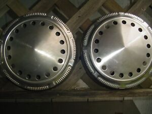Two Vintage Plymouth Dodge Chrysler Police Dogdish Hubcaps Wheel Covers Charger