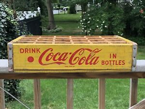 Vintage Yellow Coke Coca-Cola Wood Crate Carrier Box ~ 1968