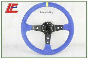 14inch 350mm Suede Leather Deep Corn Drifting Steering Wheel blue Color New