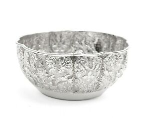 Antique Indian Lucknow Silver Offering Bowl With Hindu Deities C1890