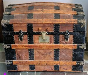 1800 S Antique Vintage Steamer Dome Trunk Chest