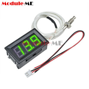 Digital Green Led Display Thermometer K type M6 Thermocouple Gauge Dc 12v