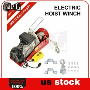 2000lbs 110v Electric Cable Hoist Crane Lift Garage Auto Shop Winch W Remote