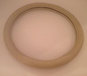 Steering Wheel Cover Beige 15 Faux Leather Universal Tan Neutral