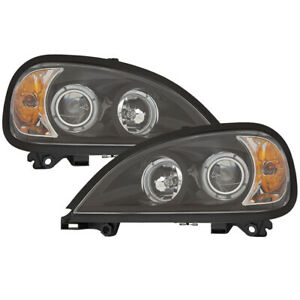 Headlights Set Projector Withangel Eyes Black For 96 16 Freightliner Columbia