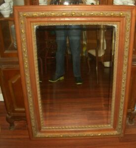 Large Antique Victorian 47 X 35 Ornate Wood Brass Framed Wall Mirror Mantle