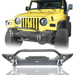 Textured Front Bumper W Led Light D ring For 1997 2006 Jeep Wrangler Tj