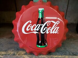 Coca-Cola Bottle Cap Tin Sign Red with White Logo 1998