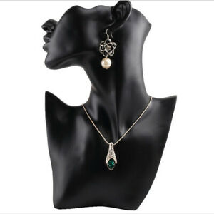 Female Fashion Necklace Jewelry Head Mannequin Bust Store Display Black