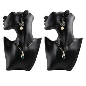 2 Female Necklace Jewelry Head Mannequin Bust Display Resin Material Black