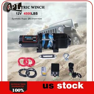 1x Electric Winch Synthetic Rope 12v Truck Trailer Tow Waterproof 1pcs 4500lb