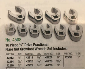 Sk Tools No 4508 10 piece 3 8 Drive Fractional Flare Nut Crowfoot Wrench Set