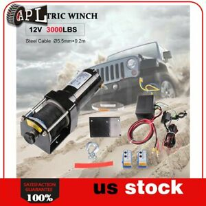 1x Electric Winch Synthetic Rope 12v Truck Trailer Tow Waterproof 1pcs 3000lb