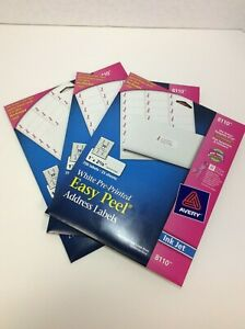 Avery Easy Peel Address Labels For Ink Jet Printers White 3 Pack 8110