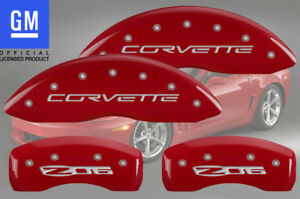 2006 2013 Chevy Corvette Z06 Front Rear Red Mgp Brake Disc Caliper Covers