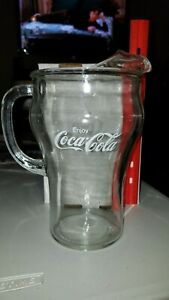 "Vintage Coke Coca-Cola 9"" Tall Clear Glass Lip Pitcher White Lettering"