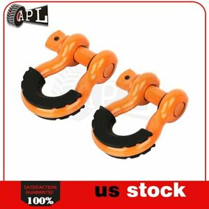 2pcs 3 4 D Ring Orange Shackles Black Isolator Washers Kit 4 75 Ton