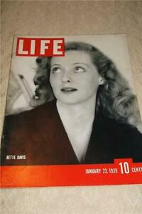 23 JANUARY 1939 LIFE MAGAZINE BETTE DAVIS PHOTO COCA COLA XMAS SANTA CLAUS COVER