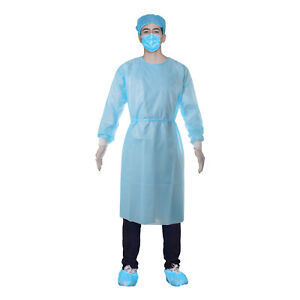 10pcs Medical Dental Level 2 Isolation Gown Disposable Knit Cuff Fluid Resistant